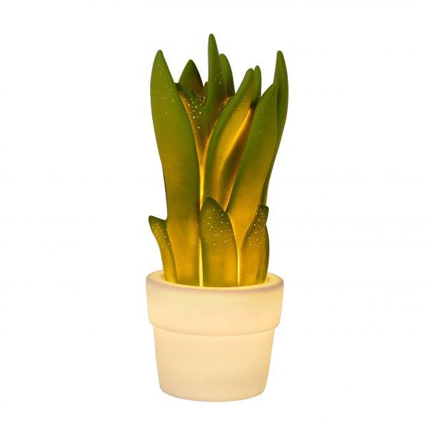 Lucide Sansevieria - lampe de table - 31 cm - vert et blanc