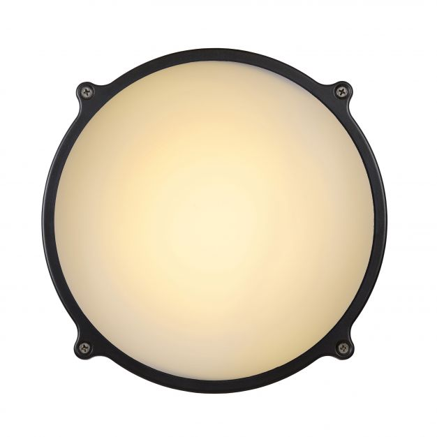 Lucide Hublot LED IR - mur/plafonnier avec détecteur de mouvement - 24 x 8 cm - 26W LED incl. - IP65 - gris