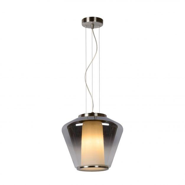 Lucide Stian - suspension - Ø 30 x 160 cm - verre fumé et opale