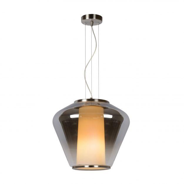Lucide Stian - suspension - Ø 38 x 168 cm - verre fumé et opale