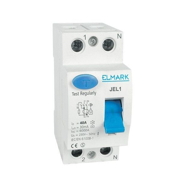 Elmark disjoncteur - 2 pôles - 40 A - 300 mA - 6 kA