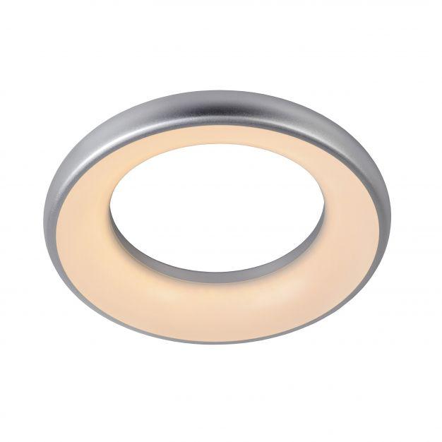 Lucide Rondell - plafonnier - Ø 30 x 5 cm - 25W LED à intensité variable incl. - IP40 - gris et opale