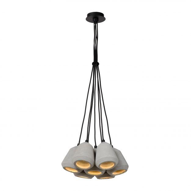 Lucide Settana - suspension - Ø 31 x 142 cm - 7 x 2,5W LED à intensité variable incl. - taupe et noir