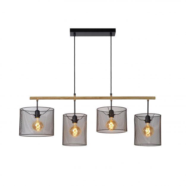 Lucide Baskett - suspension - 23 x 107 x 170 cm - noir et bois clair