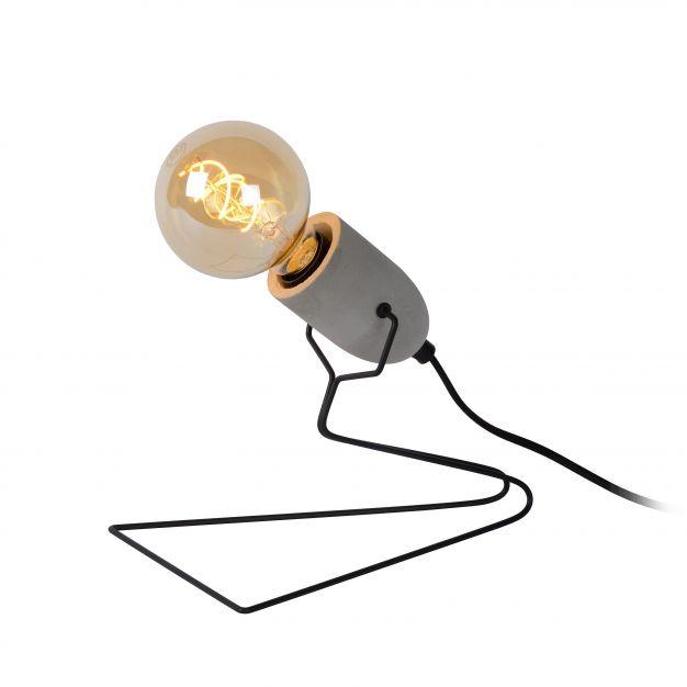 Lucide Semih - lampe de table - 22 cm - noir et gris