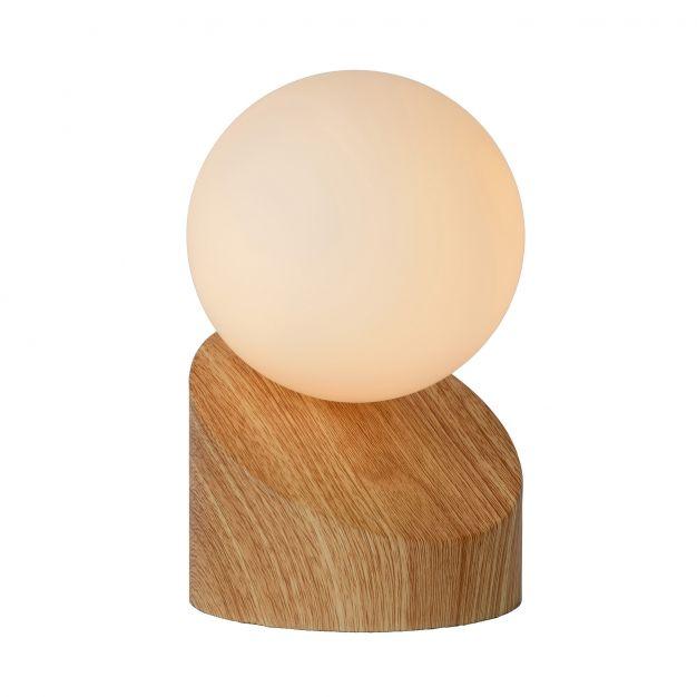 Lucide Len - lampe de table - 16 cm - bois clair et opale