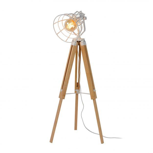 Lucide Joshua - lampadaire - 105 cm - blanc et marron clair