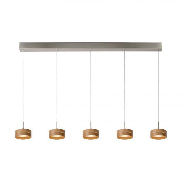 Lucide Enia Led - suspension - 11 x 81 x 150 cm - 5 x 5W LED à intensité variable incl. - bois clair
