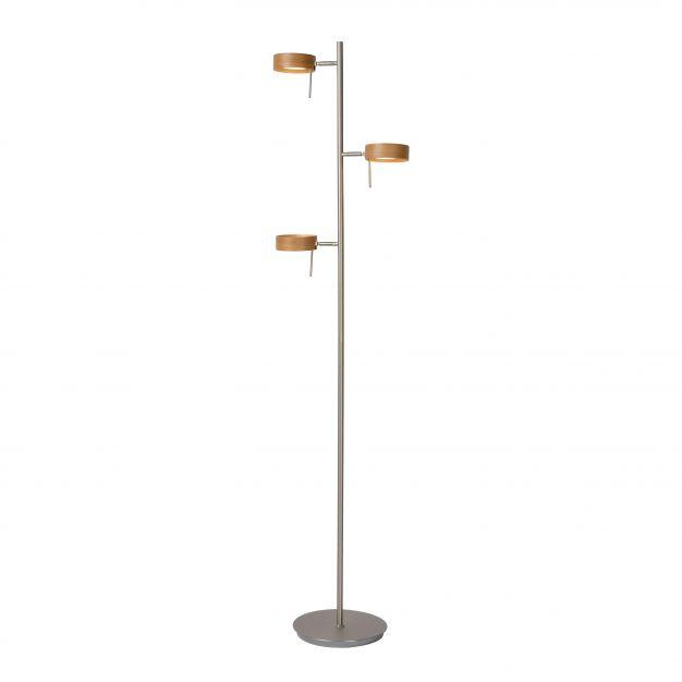 Lucide Enia LED - lampadaire - 152 cm - 3 x 5W LED à intensité variable incl. - chrome mat