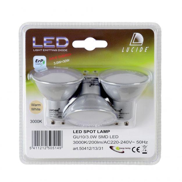 spot LED (lot de 3) - GU10 - 3W - 3000K - noir