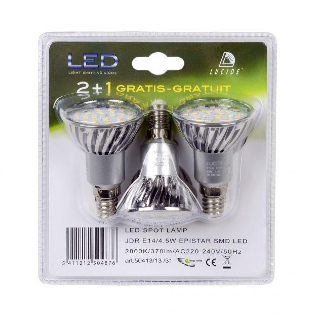 spot LED (lot de 3) - E14 - 4W - 3000K - argent