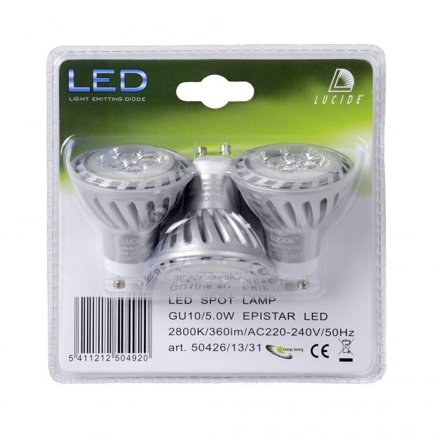 spot LED (lot de 3) - GU10 - 5W - 2800K - argent