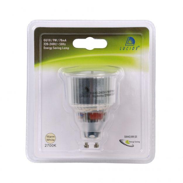 ampoule à économie d'énergie - GU10 - 9W - 2700K - blanc