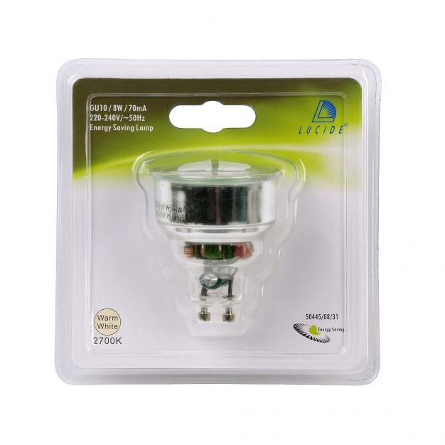 ampoule à économie d'énergie - GU10 - 8W - 2700K - blanc