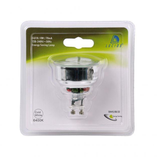 ampoule à économie d'énergie - GU10 - 8W - 6500K - blanc