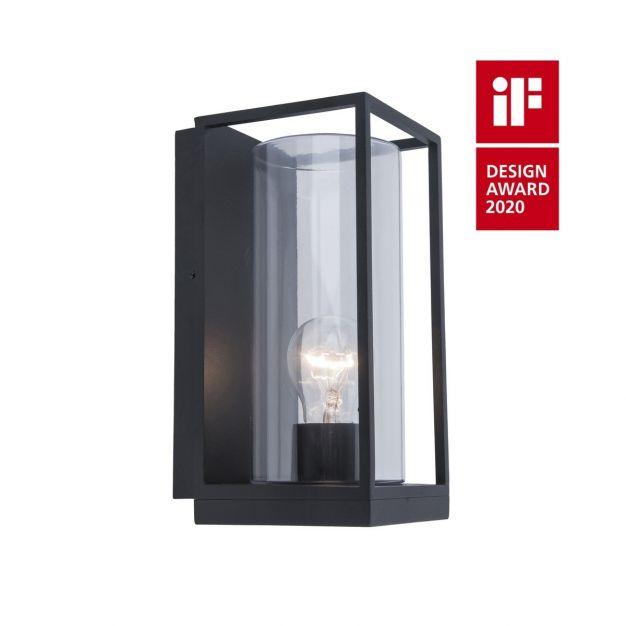Lutec Flair - buiten wandverlichting - 12 x 13,9 x 26 cm - IP44 - mat zwart
