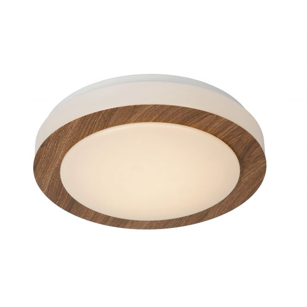 Lucide Dimy - plafonnier - Ø 28 cm - 3-step-dim 12W LED incl. - IP21 - bois et opale