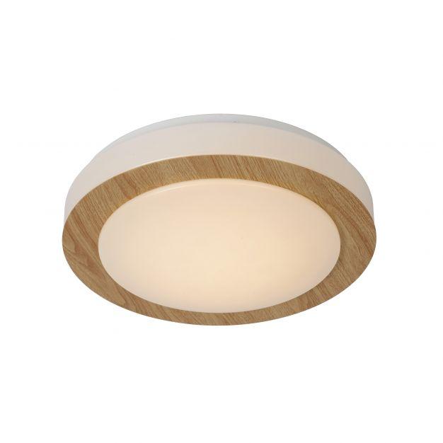 Lucide Dimy - plafonnier - Ø 28 cm - 3-step-dim 12W LED incl. - IP21 - bois clair et opale