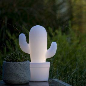 Lucide Cactus - lampe de table pour l'extérieur - 33 cm - 2W LED à intensité variable incl. - IP44 - blanc