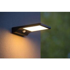 Lucide Basic - lampe murale avec capteur à énergie solaire - 11 x 19 x 3,5 cm - 3W LED incl. - IP44 - noir