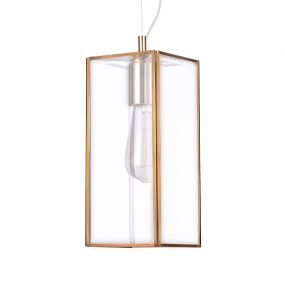 Nova Luce Flavio - suspension - 32 x 13 x 130 cm - transparent et laiton antique